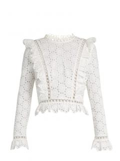 Zimmermann Divinity Wheel white floral broderie-anglaise top