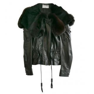 Yves Saint Laurent AW04 black leather & fox fur jacket