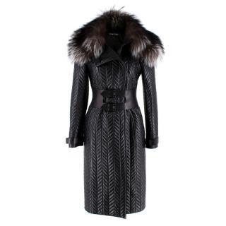 Tom Ford Longline Herringbone Lambskin & Fox Fur Belted Coat