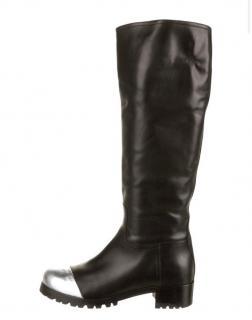 Miu Miu metallic cap leather knee-length riding boots