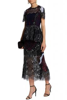 Johnathan Simkhai black lace midi skirt