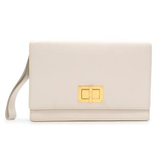 Tom Ford Cream & Gold Leather Turnlock Wristlet