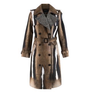 Roberto Cavalli Fur Print Trench Coat