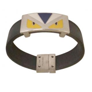 Fendi monster eyes metal & leather navy bracelet