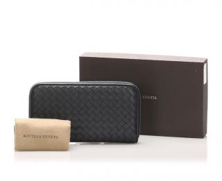 Bottega Veneta Intrecciato Grey Zip Around Wallet