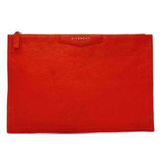 Givenchy Red Goatskin Zip Pouch