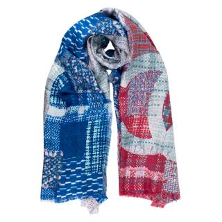 Chanel Blue & Red Cuba Collection Printed Silk Scarf