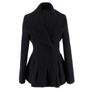 Alexander McQueen Wool Blend Peplum Black Jacket