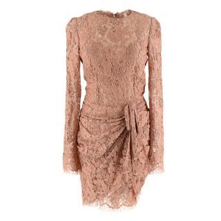 Dolce & Gabbana Dark Nude Lace Draped Dress