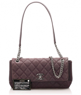 Chanel Quilted Caviar Leather Aubergine Flap Bag
