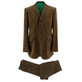 Ozwald Boateng Khaki Corduroy Single Breasted Suit
