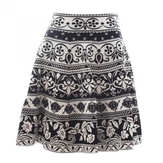 Alexander McQueen Black & White Woven A-Line Skirt
