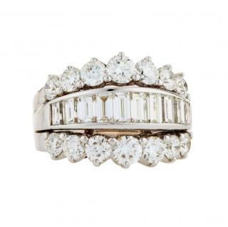 Picchiotti 18ct White Gold Baguette & Round Cut Diamond Ring