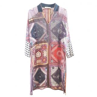 Etro Silk Embroidered Shirt Shift Dress