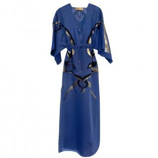 Emilio Pucci Blue Embroidered Silk Blend Kaftan