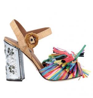 Dolce & Gabbana Raffia Crystal Embellished Keira Sandals