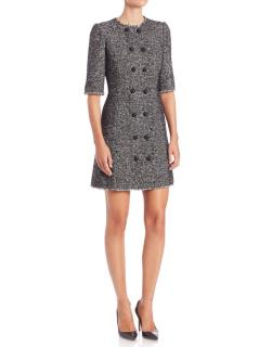 Dolce & Gabbana Wool Tweed Button Detail Mini Dress