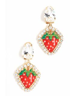 Shourouk Strawberry Beaded Crystal Earrings