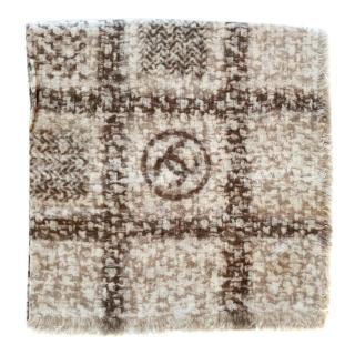 Chanel Tweed Print CC Cashmere Shawl