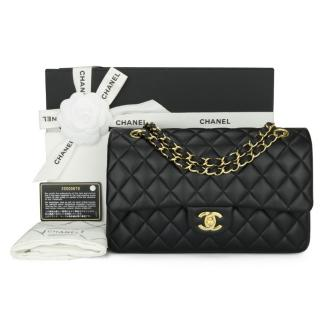 CHANEL Black Lambskin Medium Classic Double Flap Bag
