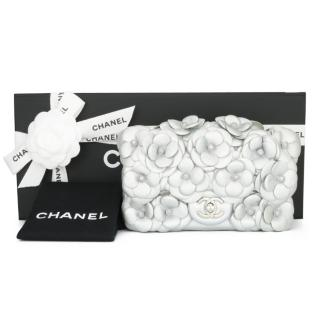 Chanel Silver Lambskin Leather Camellia Mini Flap Bag