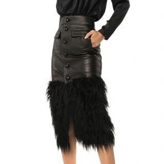 Saint Laurent Faux-feather Trim Fitted Leather Skirt
