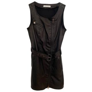 Pierre Balmain Asymmetric Zip Detail Leather Mini Dress