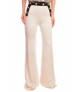 Balmain Ivory Button Detail Wide Leg Pants