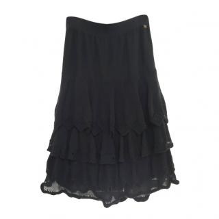Sonia Rykiel black knitted tiered skirt