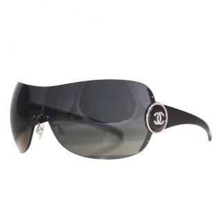 Chanel Black Shield Oversize Sunglasses