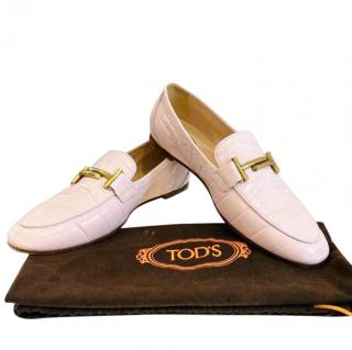 Tods Croc Embossed Blush Double T Loafers