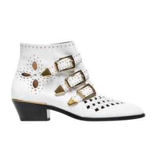 Chloe Susanna Cutout Studded Leather Ankle Boots In White