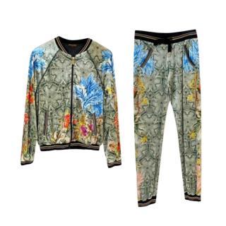 Roberto Cavalli Floral Snakeskin Print Jacket & Joggers