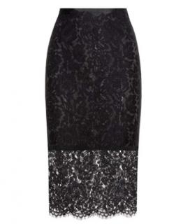 Diane Von Furstenberg Black Lace Pencil Skirt