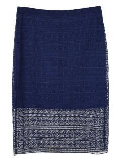 Diane Von Furstenberg Navy Lace Crochet Skirt