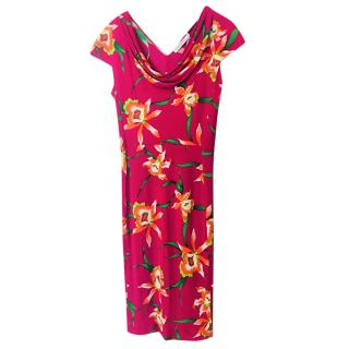 Christian Dior Floral Print Fuchsia  Drape Neck Dress