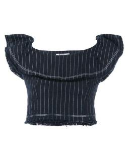 T By Alexander Wang Denim Striped Ruffled Crop Top