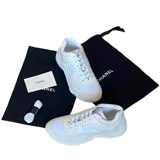 Chanel white leather CC logo triple sneakers