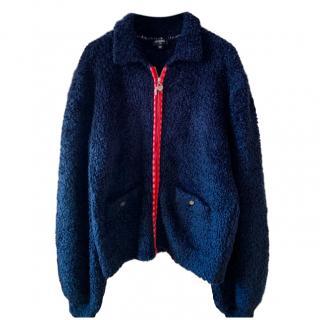 Chanel navy fleece 2019 coco zip front  jacket