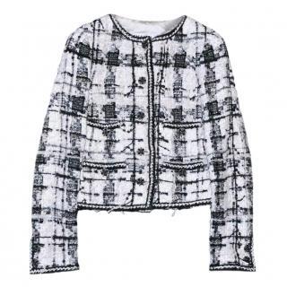 Chanel black/white/ivory tweed embellished buttons jacket