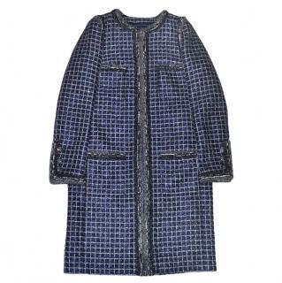 Chanel Blue Metallic Tweed Longline Coat
