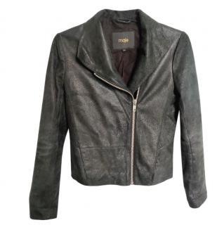 Maje Black Iridescent Asymmetric Biker Leather Jacket