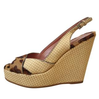 Azzedine Alaia peep toe leopard print pony hair wedge sandals