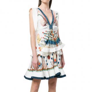 Chloe buttercream silk v-neck patterned dress