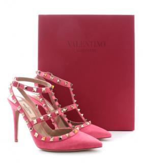 Valentino Garavani pink suede Rockstud pumps
