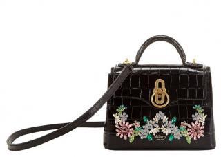 Mulberry black croc embossed Seaton Micro crystal flower bag