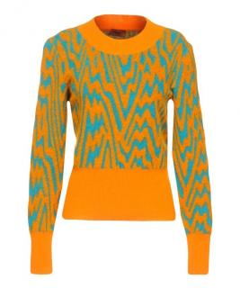 Missoni orange & turqouise alpaca blend knit sweater