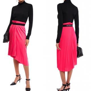Balenciaga asymmetrical pink pleated skirt