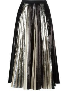 Proenza Schouler black satin knife-pleated midi skirt
