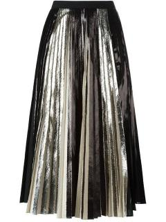 Proenza Schouler black satin knife-pleated midi skirt